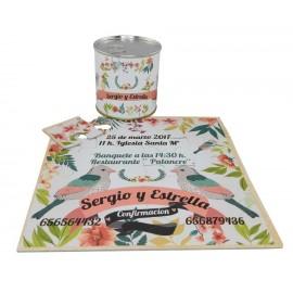 Invitacion de boda pajaritos en puzzle personalizado con lata