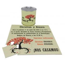Invitación de boda puzzle arbol en lata personalizada