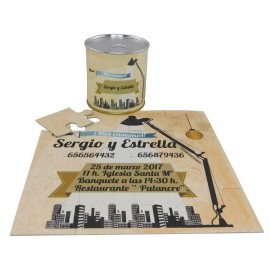 Invitacion de boda en puzzle edificios en lata