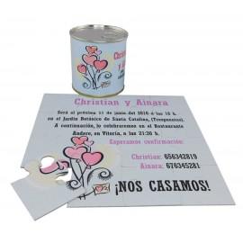 Invitacion de boda corazones en puzzle personalizado con lata