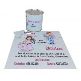 Invitacion de boda Nos Casamos en puzzle personalizado con lata