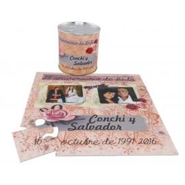 Invitacion de boda con foto RUTE66 en puzzle personalizado con lata