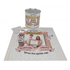 Invitacion de boda en puzzle con foto telon en lata