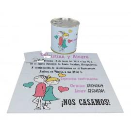 Invitacion de boda en puzzle personalizado con lata