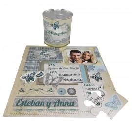 invitacion de boda mariposas en puzzle y lata