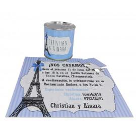 Invitacion de boda Torre Eiffel personalizado en lata