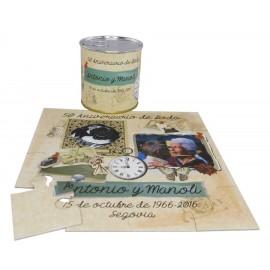 Invitacion de boda puzzle 50 Aniversario con foto en lata