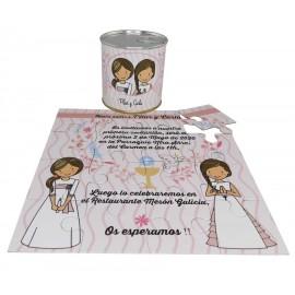 Invitacion Comunion niñas en puzzle PERSONALIZADO en lata