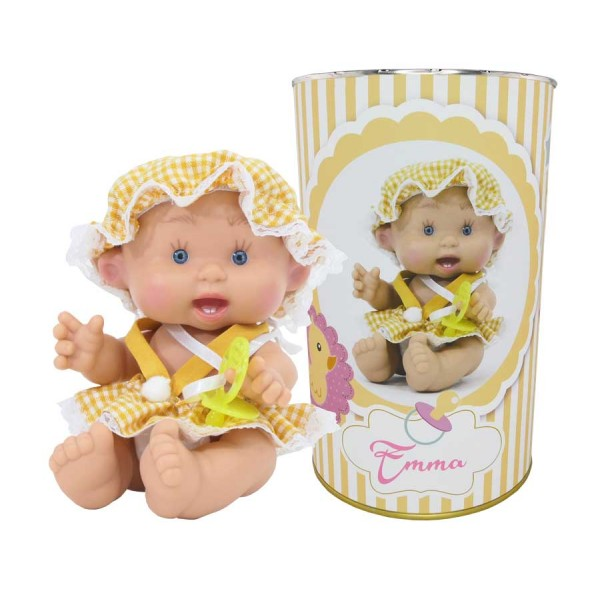 Muñeca Emma en lata personalizada.