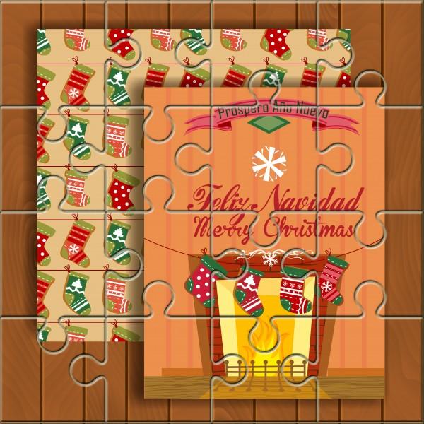 """Puzzle Navidad con la frase """"Feliz Navidad - Merry Christmas"""" en lata"""