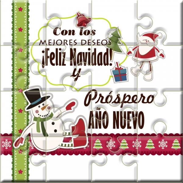 """Puzzle Navidad con la frase """"Con los mejores Deseos Feliz Navidad y Próspero año nuevo"""" en lata"""