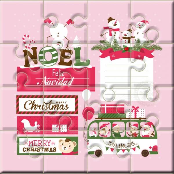 """Puzzle Navidad con la frase """"Feliz Navidad – Merry Christmas"""" en lata"""