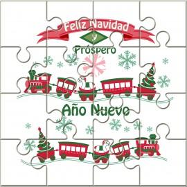 """Puzzle tren con la frase """"Feliz Navidad y Próspero Año Nuevo"""" en lata"""