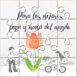 """Puzzle regalo con la frase """"Para los mejores papá y mamá del mundo"""" en lata"""