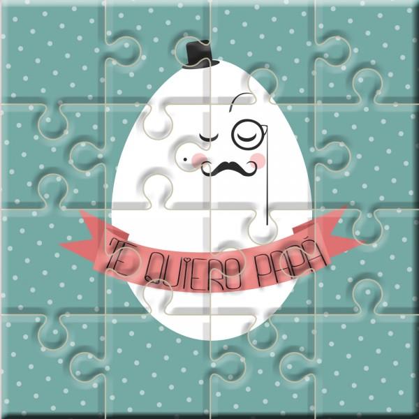 """Puzzle huevo con la frase """"Te Quiero Papá"""" en lata"""