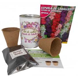 Kit de cultivo flores Espuela de Caballero en lata