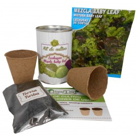 Kit de cultivo Lechuga Mezcla Baby Leaf en lata
