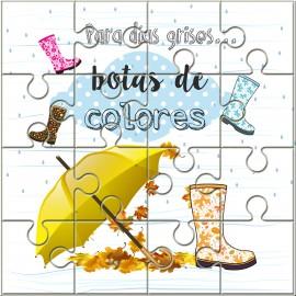 """Puzzle con la frase """"Para los días grises..botas de colores"""" en lata"""