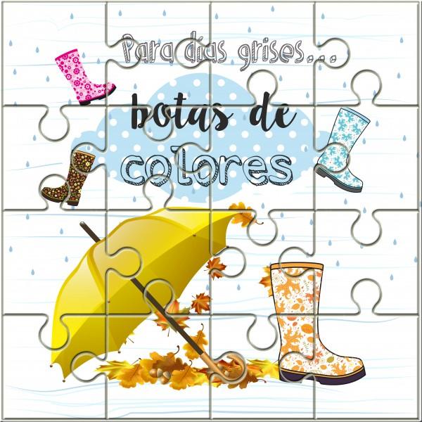 Puzzle Con La Frase Para Los Días Grisesbotas De Colores En Lata