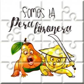 """Puzzle con la frase """"Somos la pera limonera"""" en lata"""