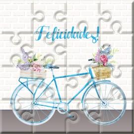 """Puzzle bicicleta con la frase """"Felicidades"""" en lata"""