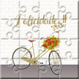 """Puzzle bicicleta verde con la frase """"Felicidades"""" en lata"""