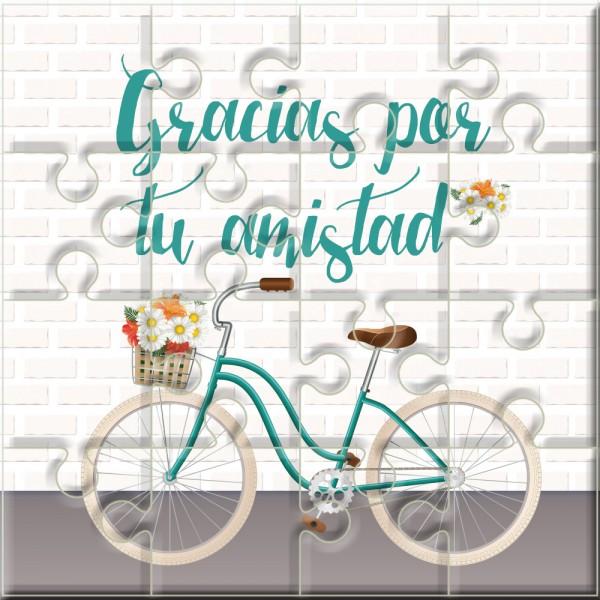 """Puzzle bicicleta con la frase """"Gracias por tu amistad"""" en lata"""