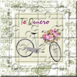 """Puzzle bicicleta con la frase """"Te Quiero"""" en lata"""