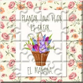 """Puzzle con a frase """"Plantar una flor es crear…El mañana"""" en lata"""