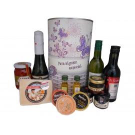 Lata regalo mujer con abre fácil con productos gourmet