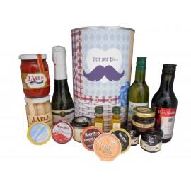 Lata regalos con productos delicatessen para hombre