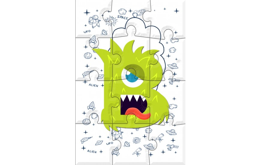 Puzzle letras infantil Alien